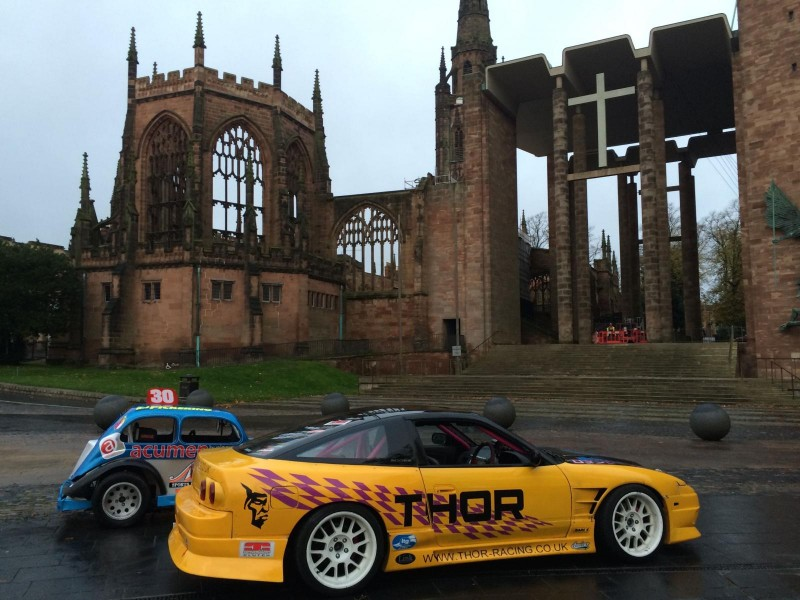 Nissan 200sx in front of Coventry cathedral